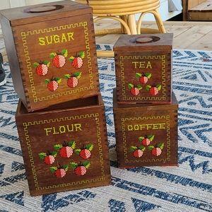 Vintage wooden strawberry canister set